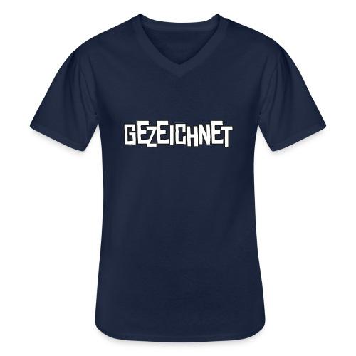 Gezeichnet Logo Weiss auf Transparent gross - Klassisches Männer-T-Shirt mit V-Ausschnitt