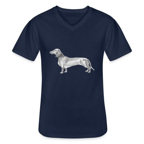 Dachshund smooth haired - Klassisk herre T-shirt med V-udskæring