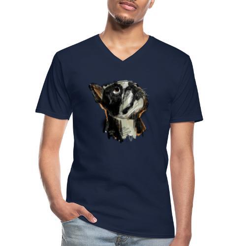 Französische Bulldogge Zeichnung - Klassisches Männer-T-Shirt mit V-Ausschnitt