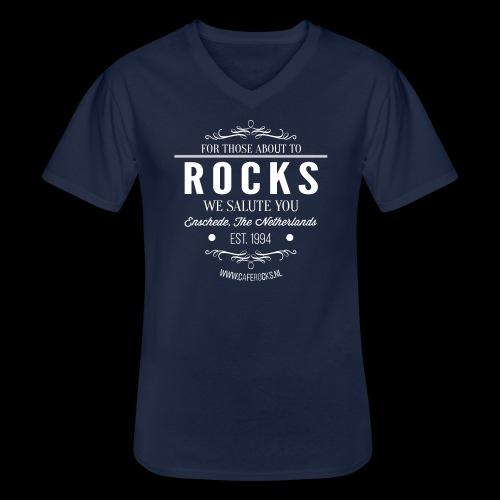 Vintage Rocks Label - Klassiek mannen T-shirt met V-hals