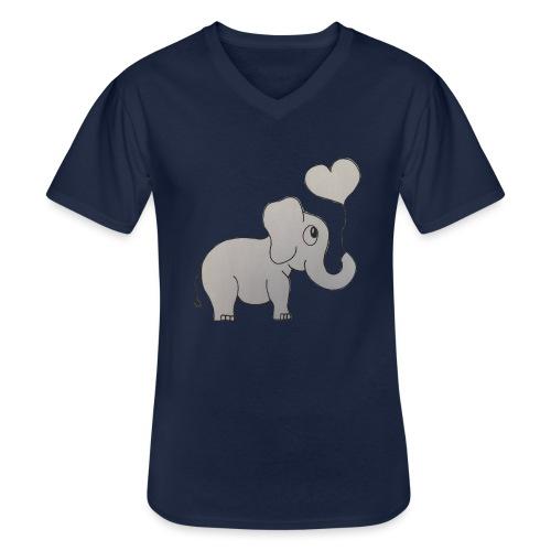 LackyElephant - Klassisches Männer-T-Shirt mit V-Ausschnitt