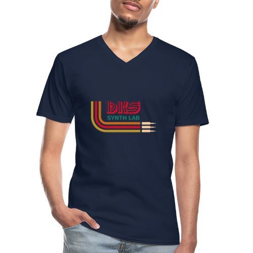 DKS SYNTH LAB Curved Red-Green - Maglietta da uomo classica con scollo a V