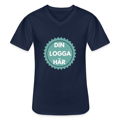 Egen Logga - Klassisk T-shirt med V-ringning herr