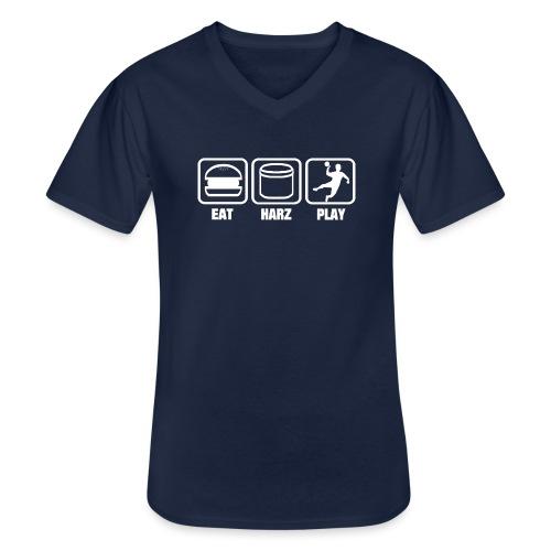 Eat Harz Play white - Klassisches Männer-T-Shirt mit V-Ausschnitt