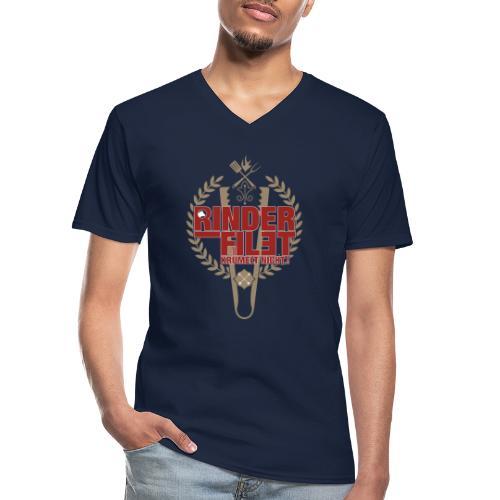 RINDERFILET KRÜMELT NICHT - Klassisches Männer-T-Shirt mit V-Ausschnitt