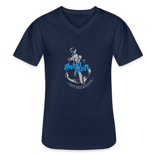 Ankerplatz - Klassisches Männer-T-Shirt mit V-Ausschnitt