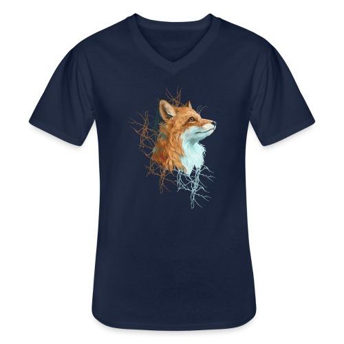 Happy the Fox - Klassisches Männer-T-Shirt mit V-Ausschnitt