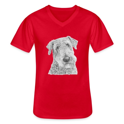 airedale terrier - Klassisk herre T-shirt med V-udskæring