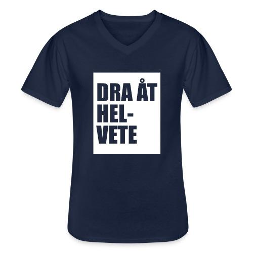 Dra åt helvete - Klassisk T-shirt med V-ringning herr