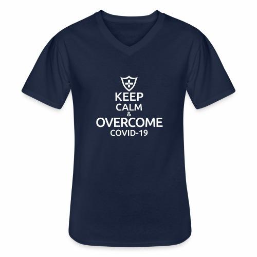 Keep calm and overcome - Klasyczna koszulka męska z dekoltem w serek