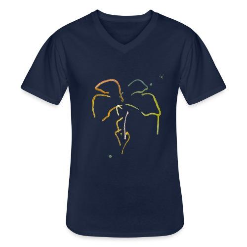 Malet palme - Klassisk herre T-shirt med V-udskæring