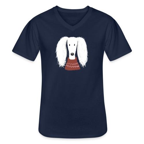 Saluki im Pulli - Klassisches Männer-T-Shirt mit V-Ausschnitt