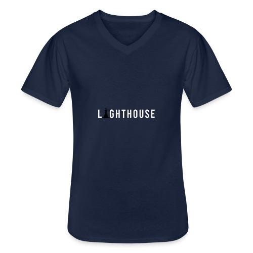 Lighthouse Logo - Klassisches Männer-T-Shirt mit V-Ausschnitt