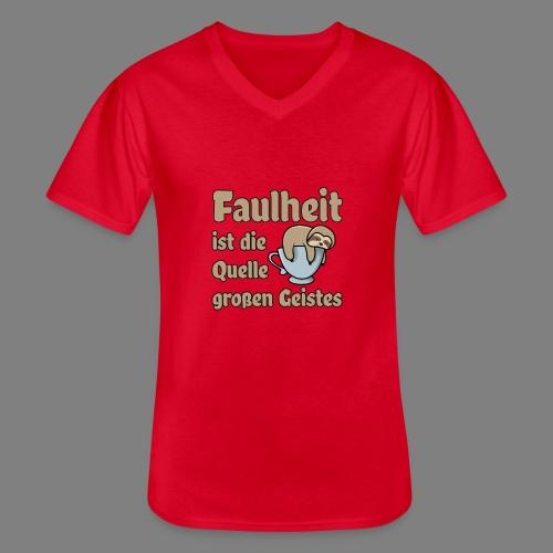 Faulheit - Klassisches Männer-T-Shirt mit V-Ausschnitt