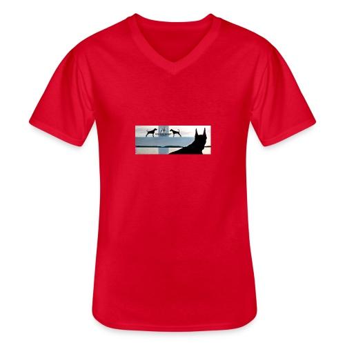FBtausta - Klassinen miesten t-paita v-pääntiellä