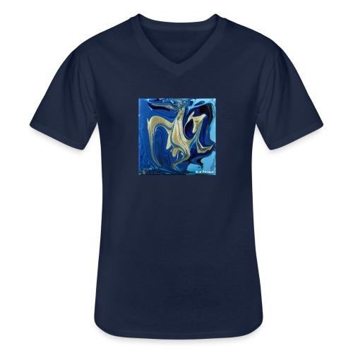 TIAN GREEN Welt Mosaik - AT042 Blue Passion - Klassisches Männer-T-Shirt mit V-Ausschnitt
