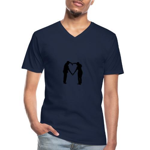 silhouette 3612778 1280 - Klassisk T-shirt med V-ringning herr