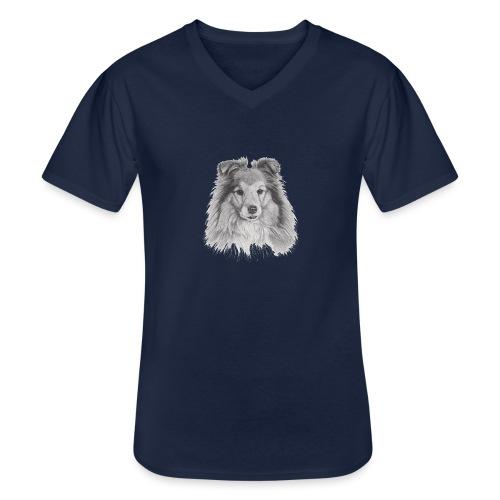 shetland sheepdog sheltie - Klassisk herre T-shirt med V-udskæring