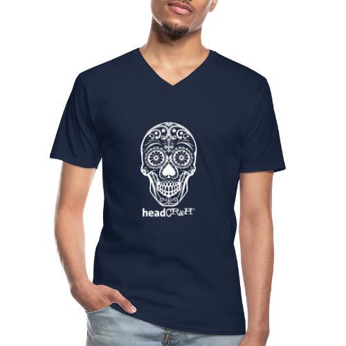 Skull & Logo white - Klassisches Männer-T-Shirt mit V-Ausschnitt