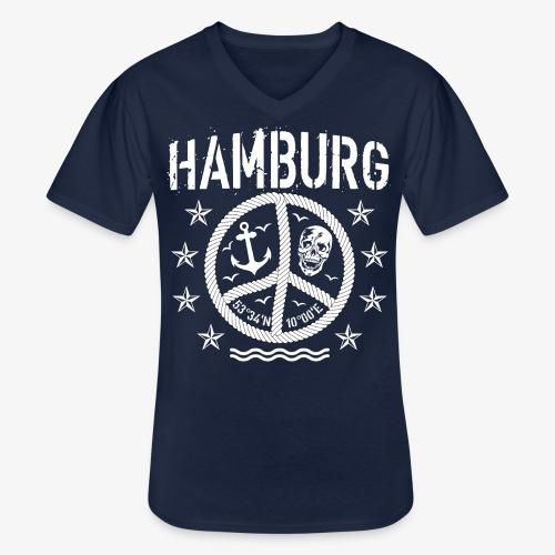 105 Hamburg Peace Anker Seil Koordinaten - Klassisches Männer-T-Shirt mit V-Ausschnitt