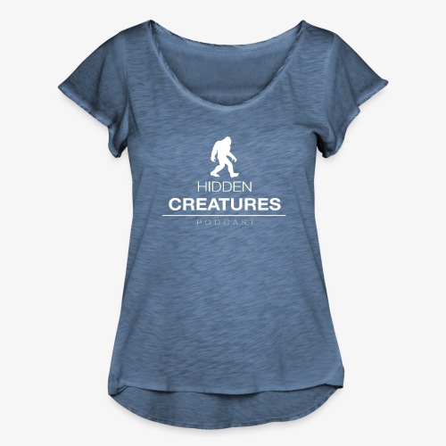 Hidden Creatures Logo White - Women's Ruffle T-Shirt