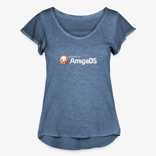 PoweredByAmigaOS white - Women's Ruffle T-Shirt
