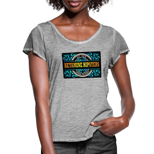 Black Vintage - KETAMINE HIPSTERS Apparel - Women's Ruffle T-Shirt