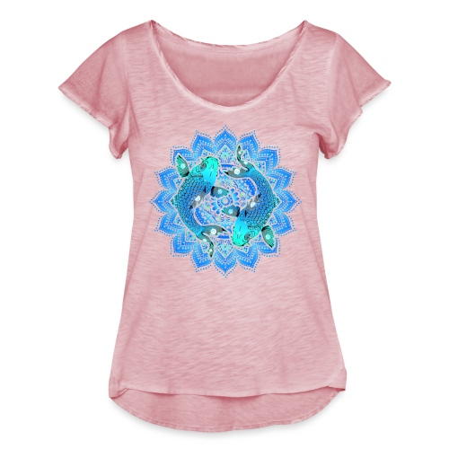 Asian Pond Carp - Koi Fish Mandala 1 - Frauen T-Shirt mit Flatterärmeln