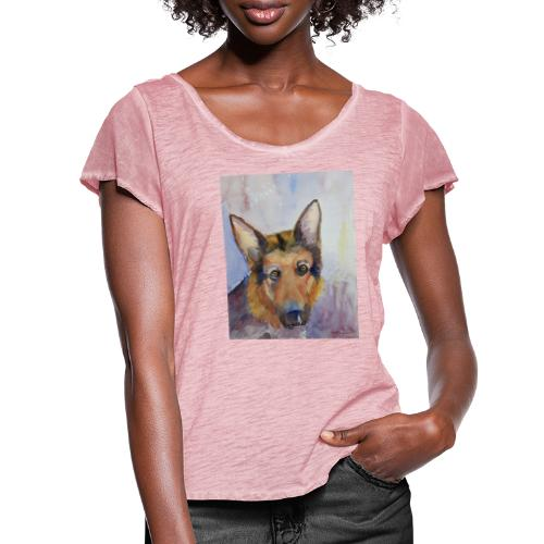 german shepherd wc - Dame T-shirt med flagreærmer