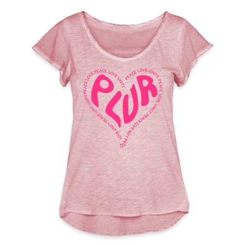 PLUR Peace Love Unity & Respect ravers mantra in a - Women's Ruffle T-Shirt
