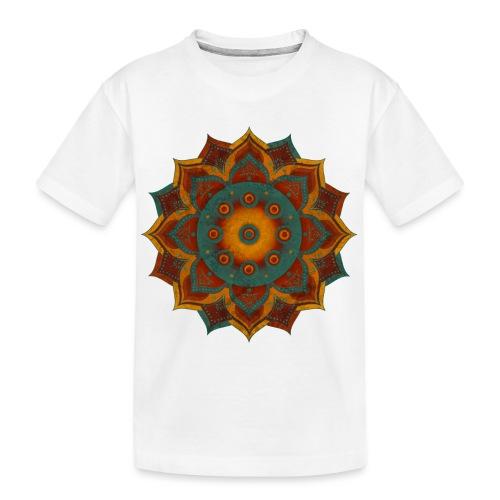 HANDPAN hang drum MANDALA teal red brown - Teenager Premium Bio T-Shirt