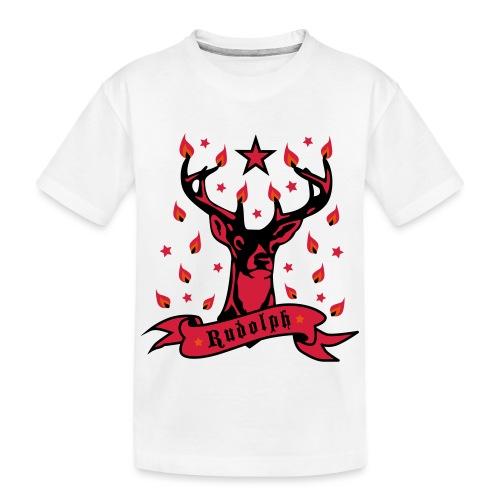 Stolzer Hirsch Rudolph 3c Stern Lichter Glamour - Teenager Premium Bio T-Shirt
