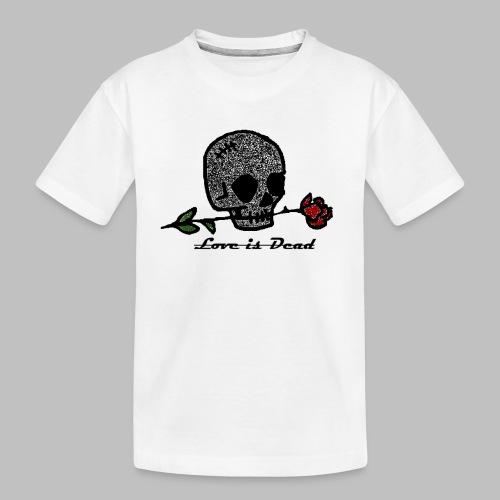 Love Is Dead Custom Skull Design - Teenager premium biologisch T-shirt