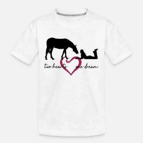 two hearts one dream liegendes Mädchen Pferd - Teenager Premium Bio T-Shirt