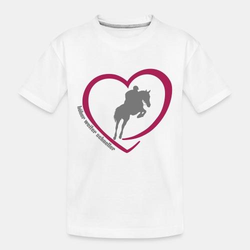 Springreiten höher weiter schneller - Teenager Premium Bio T-Shirt