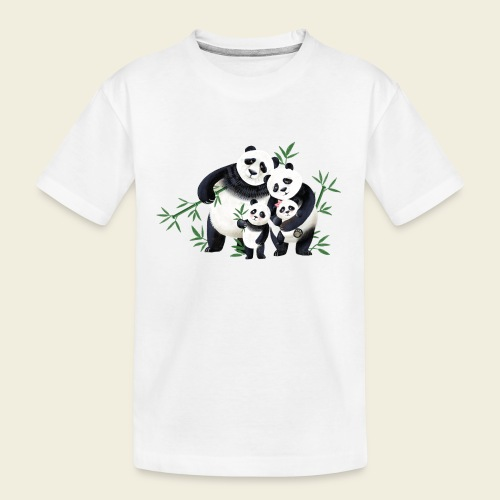 Pandafamilie zwei Kinder - Teenager Premium Bio T-Shirt