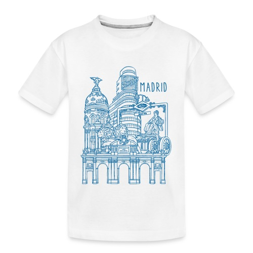 MADRID COLLAGE AZUL - Camiseta orgánica premium adolescente