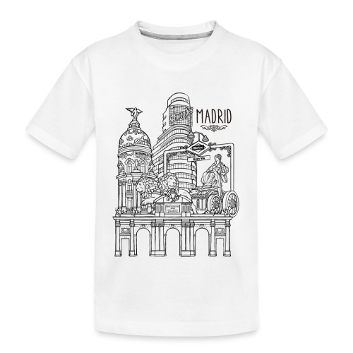 MADRID COLLAGE NEGRO - Camiseta orgánica premium adolescente