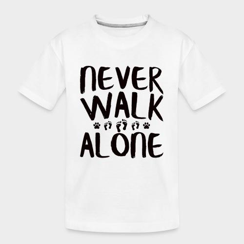 NEVER WALK ALONE | Hunde Sprüche Fußabdruck Pfote - Teenager Premium Bio T-Shirt