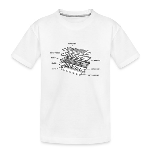 Exploded harmonica - black text - Teenager Premium Organic T-Shirt