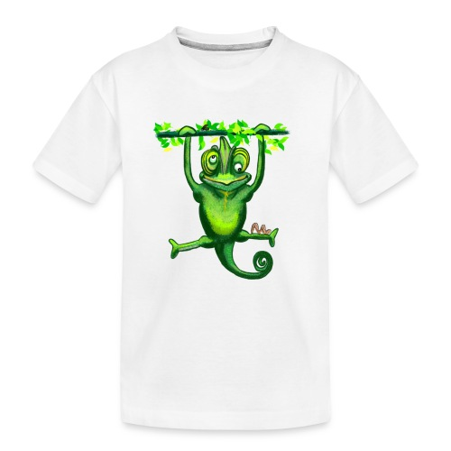 Hunting green chameleon print / design - Teenager Premium Organic T-Shirt