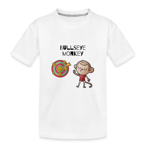 Bullseye monkey - freches Äffchen am Dartboard - Teenager Premium Bio T-Shirt