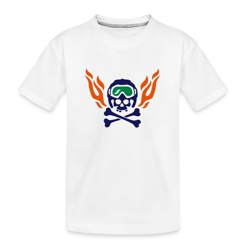 Totenkopf mit Skihelm, Skibrille und Flammen - Teenager Premium Bio T-Shirt