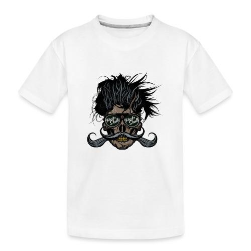 hipster skull tete de mort crane barbu moustache - T-shirt bio Premium Ado