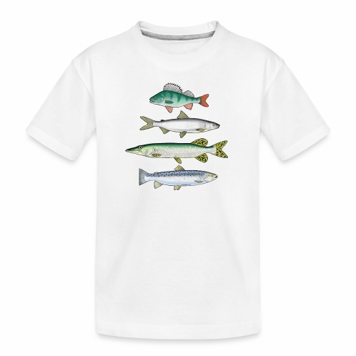 FOUR FISH - Ahven, siika, hauki ja taimen tuotteet - Teinien premium luomu-t-paita