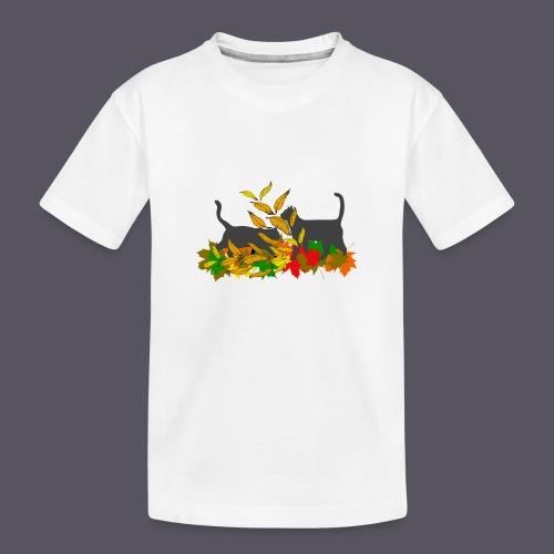 spielende Katzen in bunten Blättern - Teenager Premium Bio T-Shirt