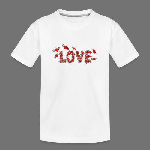 Flying Hearts LOVE - Teinien premium luomu-t-paita