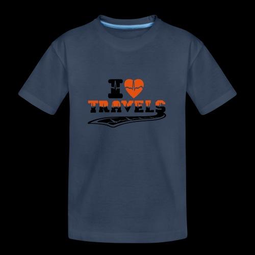 i love travels surprises 2 col - Teenager Premium Organic T-Shirt