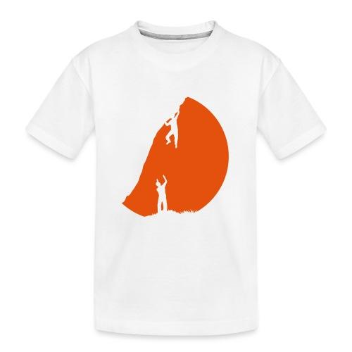 Boulderer mit Spotter im Sonnenuntergang - Teenager Premium Bio T-Shirt