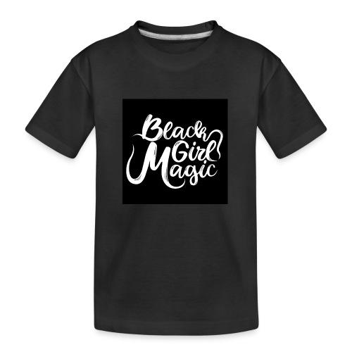 Black Girl Magic 1 White Text - Teenager Premium Organic T-Shirt